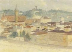 "20th CenturyItalian Hilltop Town, Watercolour, 9.5"" x 13.75"" (24cm x 35cm)"
