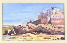 "Paul HOARE (British b. 1952)Medieval Castle - Essorira, Watercolour, Signed lower left, 7.5"" x 12."