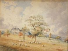 Edwin FUDGE (British fl 1815-1846)Country House in Parkland, Watercolour, Signed and dated 1845