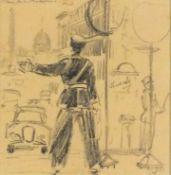 Hyman SEGAL (British 1913 - 2004)Place de la Madelaine Paris - Police officer on points duty, Black