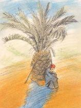 Hyman SEGAL (British 1914-2004)Bedouin Beneath a Palm, Coloured chalk and pencil, Artist label