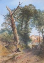 Thomas R Colman DIBDIN (British 1810-1893)Country Lane with Figures and a Cart, Watercolour, Signed