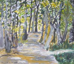 Elizabeth WHITE (British b. 1938)Woodland Path, Mixed media on paper, Signed and dated 2008,