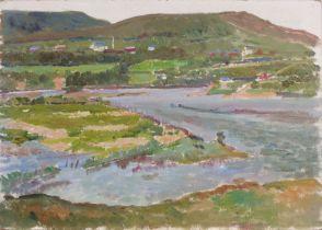 Elizabeth Lamorna KERR (British 1904-1990)River Estuary, Oil on board,Signed by artist's