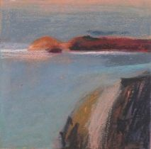 Jan STROTHER (British 20th/21st Century)Promontory, West Coast, Oil pastel on paper, Signed and