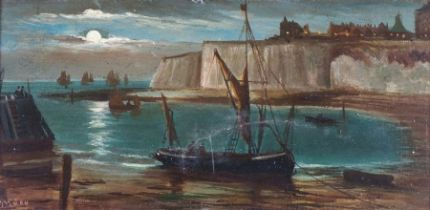 J ***** WILLIAMSON (British 19th/20th Century)Moonrise Broadstairs, Oil on canvas, Signed lower