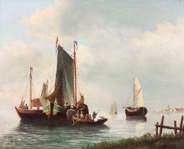 J KSUYHEN (20th Century Dutch School)Moored Vessels in a Canal, Oil on board, Signed lower left,
