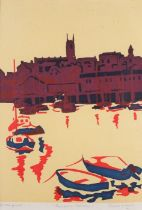 Diana WAYNE (British b. 1945)Penzance Harbour, Screen-print, Signed and titled in pencil lower