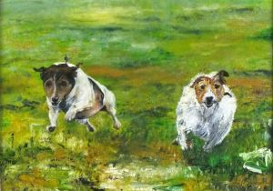 Mike MOORE (British b. 1950)Russell Run - two Parson's Jack Russell dogs, Oil on board, Signed,