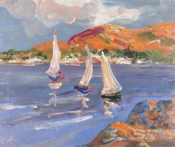 Rachel GRAINGER-HUNT (British 1956-2016)Three Sailing Vessels on a Lough, Oil on paper, Signed with