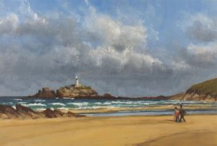 """Attributed to Patricia SCOTT, Godrevy Lighthouse, Cornwall, Oil on board, 12.5"""" x 18.25"""" (31cm x"""