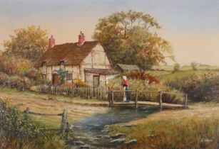 R SIMM (British 20th Century)Figure on a Footbridge beside a Cottage, Oil on board, Signed lower