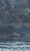 Robert JONES (British b. 1943)Dark Sea, Oil on card, Signed with initials lower right, Newlyn