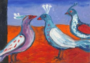 Janet LYNCH (British b. 1938) Three New Mexican Birds I, Acrylic on canvas, titled, signed and dated