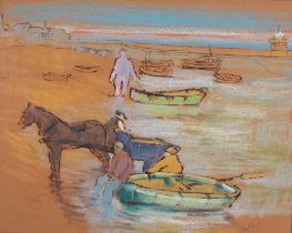 Hyman SEGAL (British 1914-2004)Phillips and His Pony (the last working fish cart in St Ives) Ink
