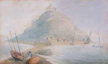"English School 18th/19th Century St Michael's Mount Low Tide, Watercolour, 9.75"" x 16.5"" (25cm x"