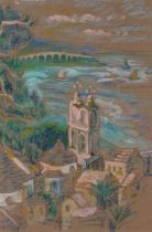 20th Century Continental SchoolSailing Boats off Alassio, Watercolour and chalk on buff paper,