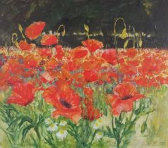 Jennifer CRACKNELL (British 20th Century)Poppies at Newlyn, Oil on board, Signed with initials