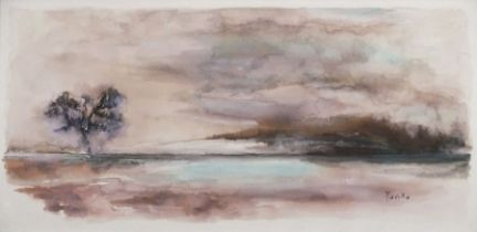 """Merika SONNE (20th Century)Lone Tree in a Landscape, Watercolour, Signed lower right, 7.5"""" x 15.25"""""""