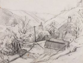 """Hyman SEGAL (British 1914-2004)Cornish Mine in a Valley, Pencil on paper, Signed lower right, 6.75"""""""