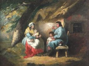 """Manner of George MORLANDFamily Seated Outside a Cottage, Oil on canvas, 13.5"""" x 18.5"""" (34cm x"""
