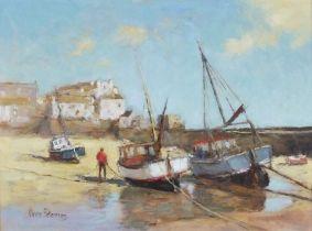 Vince PETERSON (British b. 1945)Vessels LowTide St Ives, Oil on board, Signed lower left, artist's