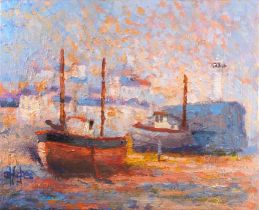 D HUGHES (British 20th Century)Fishing Vessel in Harbour Low Tide - possibly St Ives, Oil on