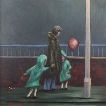 Julian DYSON (British 1936-2003)Twins with Balloons, Oil on canvas, Signed and dated 3/'81 lower