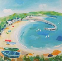 """Claire HENLEY (British 20th/21st Century) Harbour Wall (Cornish Bay), Giclée print, 13"""" x 13"""" ("""