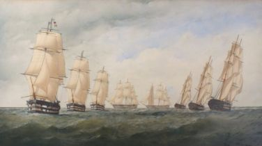 Charles TAYLOR (British fl. 1836-1871)A Squadron of Eight Ships of the Line Tacking - seven two-