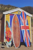 Russell (Russ) WOOD (British 20th/21st Century) Surf Hut, Coloured photograph, titled and signed