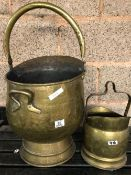 2 COPPER COAL SCUTTLES - 1 SMALL & 1 LARGE WITH HANDLES