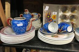 LARGE SHELF OF QTY OF CHINAWARE INCL; BOWLS BY DUNN BENNETT & CO, PLATES, CUPS & SAUCERS ETC