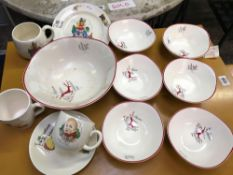SMALL QTY OF CHINA INCL; BESWICK CUP & SAUCER, DISHES & BOWL BY CROWN DEVON