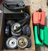 BOX WITH 3 PLASTIC PETROL CANS & A QTY OF WHEELS