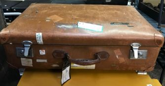 GOOD QUALITY LARGE LEATHER SUITCASE WITH NUMEROUS LABELS