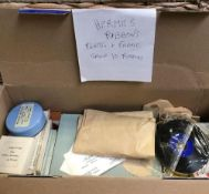 BOX WITH QTY OF TYPEWRITER SPARE PARTS INCL; RIBBONS, BRUSHES & CLOTHS ETC