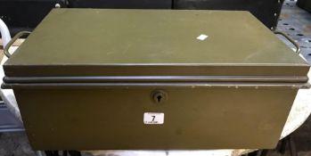 GREEN METAL DEED BOX - NO KEY