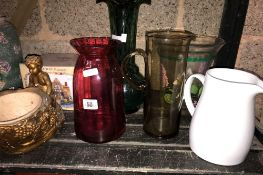 SHELF WITH QTY OF JUGS, VASES & CHINA