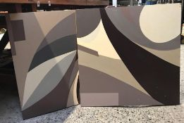 SET OF 4 ABSTRACT PAINTINGS ON WOOD BY MARGIE HAYES (2003)