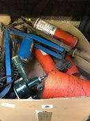 BOX WITH FOOT PUMP, BLOW LAMP, CORD & OTHER MIXED METAL TOOLS