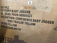 BOXED BABY JOGGER CONFIDENCE BIKE TRAILER - YELLOW IN COLOUR
