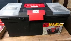 PLASTIC 16'' TOOL BOX WITH SCREW DRIVER, SPANNER & OTHER TOOLS