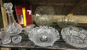 SHELF OF GLASSWARE INCL; LEAD CRYSTAL DECANTER, DISHES & BOWL