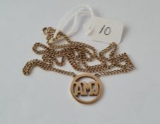 A gold pendant (initial AMJ) on 9ct link chain