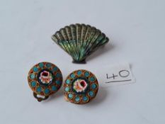 A pair of micro mosaic earrings, silver & abalone brooch
