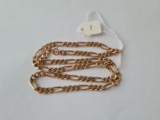 A short and long link neck chain in 9ct - 11gms