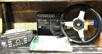 BOXED 25MTR GARDEN LIGHTING CABLE, KENWOOD CD PLAYER, ASTRALI STEERING WHEEL & FORD CD PLAYER