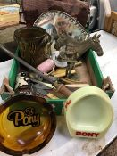CARTON OF MISC ITEMS, BRASS WARE, JUGS, KNIVES, ASHTRAYS ETC