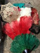 CARTON WITH QTY OF MATERIAL, HANDBAGS, FEATHER FANS & TABLE CLOTH